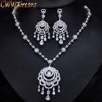 CWWZircons Luxury Bohemia Big Long Tassel Drop <b>Necklace</b> Earrings CZ Bridal <b>Jewelry</b> Sets For Women Wedding Party Costume T301