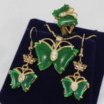 Women's Wedding Pretty GP butterfly green gem pendant Necklace earrings ring set silver <b>jewelry</b> brinco real silver <b>jewelry</b>