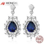 HONGYE Classic Style Blue Bling Rhinestone Stone Flower Big Water Drop Dangling Earrings Women 925 Silver <b>Wedding</b> Dress