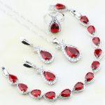 925 Sterling Silver <b>Jewelry</b> Red Cubic Zirconia White Zircon Wedding <b>Jewelry</b> Sets For Women Earrings/Pendant/<b>Necklace</b>/Bracelet
