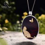 Lotus Fun Real 925 <b>Sterling</b> <b>Silver</b> Natural Agate Handmade Fine <b>Jewelry</b> Cat and Butterfly Pendant without Necklace for Women
