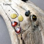 Yoowei New Tiny Amber Earrings for Women Girl Teardrop Shape Small 8*6mm Chic Stud Earring Baltic Natural Amber <b>Jewelry</b> <b>Supplies</b>