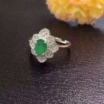 Natural green emerald Ring Natural gemstone ring 925 <b>sterling</b> <b>silver</b> trendy luxurious big Flowers women party <b>Jewelry</b>