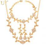 U7 Flower Jewelry Set Gold/<b>Silver</b> Color Rhinestone French Romantic <b>Bracelet</b> Earrings Necklace Set For Women S568