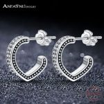 ANFASNI 925 Sterling Silver Half Love Stud Earrings Clear CZ <b>Wedding</b> Earring For Bride Fine Silver <b>Jewelry</b> Aretes PSER0130-B