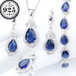 New Blue Zirconia <b>Silver</b> 925 Costume Jewelry Sets <b>Bracelets</b> Earrings With Stones Rings Pendant Necklace For Women Set Gift Box