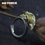 GQTORCH Vintage 925 Sterling <b>Silver</b> <b>Jewelry</b> Natural Fire Opal Rings For Women Opening Type Flower Shape 4 Claws Setting