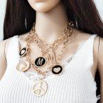 Hot New brand Runway <b>Accessories</b> T Show Peace Heart M Charm Pendant Statement Bib Necklace T-Show Necklace Nightclub <b>Jewelry</b>