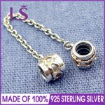 LS High Quality Real 925 Silver Love Heart Safety Chain Fit Original bracelete Charms Pulseira Encantos.100% Fine <b>Jewelry</b> <b>Making</b>