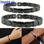 TrustyLan <b>Fashion</b> Couples <b>Jewelry</b> Shiny Black Ceramic Bracelet For Men Women Health Magnetic Hologram Bracelets Balance Bands