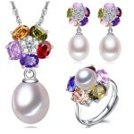 charming big pearl jewelry sets natural pearl necklace <b>earring</b> rings 925 <b>silver</b> gift for women [TC1013]