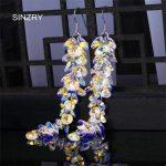 SINZRY <b>jewelry</b> Trendy round crystal dangle earrings luxury silver glass crystal <b>handmade</b> long drop earrings for brides