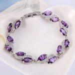 Bella Fashion Luxury Bridal <b>Bracelet</b> Cubic Zircon Tennis <b>Bracelet</b> for Women Wedding Party Jewelry Blue/Purple/Pink <b>Silver</b> Plated