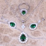 Green Cubic Zirconia 925 Sterling Silver <b>Jewelry</b> Sets Earrings Necklace Pendant Ring Size 5 / 6 / 7 / 8 / 9 / 10 / 11 / 12 S0838