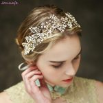 Jonnafe Tiny Beaded Bridal Tiara Headband Gold Flower Hair Vine Wedding Accessories Women Hair Piece <b>Jewelry</b>