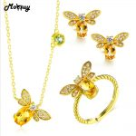 MoBuy Citrine Natural Gemstone 3pcs Cute Insect Jewelry Sets 100% 925 Sterling <b>Silver</b> Fine Jewelry For Women Party V027ENR