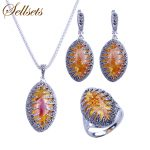 Sellsets Silver Color <b>Fashion</b> Jewellery Necklace Set Vintage Black Rhinestone And Marquise Shape Resin Women <b>Jewelry</b> Sets