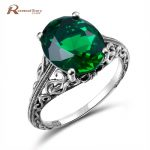 Bulgaria <b>Jewelry</b> Vintage Charms Green Crystal Ring For Women <b>Handmade</b> Engagement Wedding 925-Sterling-Silver-Gem-Rings
