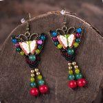 Original New Butterfly Drop Earrings Ethnic Handmade Stone Cloisonne Vintage Party <b>Antique</b> Earrings For Women Bohemian <b>Jewelry</b>