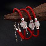 Pure <b>Silver</b>, Tian Yu, White Jade Bead, Plum Blossom Love Shape Lady, This Year Of Life, Red Chain <b>Bracelet</b> Wholesale.
