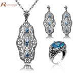 Bridal Wedding Jewelry Set for Women <b>Earrings</b> Pendant 925 <b>Silver</b> Jewelry Set Blue CZ Rhinestone Crystal Accessories Bijouterie