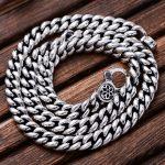 MetJakt 925 Sterling <b>Silver</b> 1cm Width Vintage Long Chain <b>Necklaces</b> for Men and Women Cherry Blossoms <b>Necklaces</b> 55cm