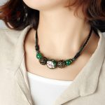 BOEYCJR Natural Stone Enamel Bead Necklace Choker Short Chain <b>Handmade</b> Vintage <b>Jewelry</b> Ethnic Pendant Necklace For Women 2017