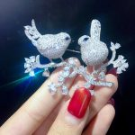 unisex office career 925 <b>sterling</b> <b>silver</b> with cubic zircon birds brooch pins double birds fashion <b>jewelry</b> for women and men