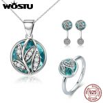 WOSTU Hot Sale Authentic 925 Sterling <b>Silver</b> Green Radiant Leaves Jewelry Sets <b>Bracelet</b> Earrings Necklace For Women Gift