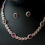 MOONROCY Free Shipping Earring and <b>Necklace</b> Rose Gold Color Austrian Crystal Bride <b>Jewelry</b> Set Wedding <b>Jewelry</b> for Women