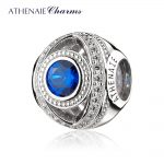ATHENAIE 925 Sterling <b>Silver</b> Watchful Eye Blue Clear CZ Bead Charms Fit All European <b>Bracelets</b>