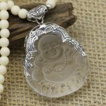 New arrival <b>silver</b> obsidian <b>necklace</b> buddha laughing buddha pendant white crystal sweater <b>necklace</b> 925 pure <b>silver</b> pendants