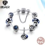 925 <b>Sterling</b> <b>Silver</b> Glittering Moon and Star, Pumpkin Car & Blue Radiant Beads Femme Charm Bracelet Valentine Gift <b>Jewelry</b>