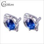 Fashion sapphire stud <b>earrings</b> cornflower blue sapphire <b>earrings</b> solid 925 sterling <b>silver</b> sapphire stud <b>earrings</b> for wedding