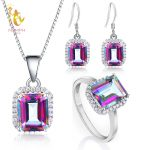 NYMPH 925 Sterling <b>Silver</b> Jewelry Genuine Gem Stone Rainbow Mystic Topaz Crystal Necklace Pendant Ring <b>Earrings</b> party