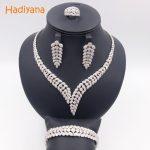 Hadiyana Shinning Pave CZ 4pcs <b>Jewelry</b> Sets Women Wedding Dubai Zirconia <b>Necklace</b> <b>Jewelry</b> Set With Earrings Bracelet Ring CN300