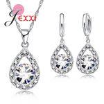 JEXXI 925 Silver Cubic Zirconia Wedding <b>Jewelry</b> Sets For Brides Water Drop Women Crystal Pendants Necklace Earrings Set