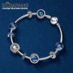 DORAPANG 100% 925 Sterling <b>Silver</b> Rose gold Love <b>bracelet</b> Clear CZ Charm Bead fit pendant DIY Bangles Set factory wholesale