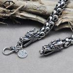 FNJ Pure 925 <b>Sterling</b> <b>Silver</b> necklaces men <b>jewelry</b> 6-8MM thickness solid <b>Silver</b> Interfax dragon head long necklace Corsair N15