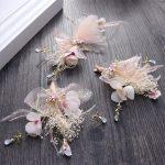 CC Hair Sticks Hairgrips 3Pcs Set <b>Handmade</b> Romantic Feather Fairy Flower Bridal Wedding Hair Accessories For Bride <b>Jewelry</b> TS227