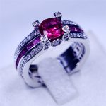 Victoria Wieck <b>Jewelry</b> <b>wedding</b> band rings for women men 3ct Red 5A Zircon Cz 925 Sterling silver Birthstone Female Ring set