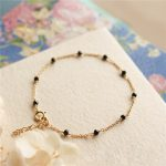 Personalized Natural Black Beads Bracelet <b>Handmade</b> Customize Gold Fillde Bangles Vintage Party Gift <b>Jewelry</b> Bracelet for Women
