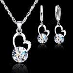 JEXXI New Fashion Shiny Cubic Zircon <b>Jewelry</b> Set 925 Sterling <b>Silver</b> Heart Pendant Necklace+ Dangle/Hoop Earrings Set For Women