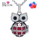 <b>Antique</b> Silver Hollow Globe Owl Cage Locket Pendant Necklace Aromatherapy Essential Oil Fragrance Diffuser <b>Jewelry</b> 7colors Poms