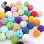 Let's Make Crochet Balls 20mm 80pc Available Wooden Cotton Beads/Crochet Beads/Cotton Fabric Bead Crafts DIY <b>Jewellery</b> <b>Decor</b>