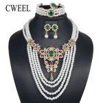 CWEEL Fashion <b>Jewelry</b> Set For Women Bridesmaid 4 Layers Luxury Imitation Crystal Zircon Bridal Wedding Costume Turkish <b>Jewelry</b>