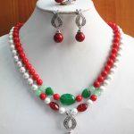 Prett Lovely Women's Wedding Charming&Fashion 8mm 2 Rows Shell Pearl/gem Necklace Earring Ring <b>Jewelry</b> Set 5.23 5.23 5.23