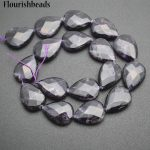 Wholesale 2 strands High Quality Natural Amethyst 15x20mm Flat Pear Drop Shape Stone Loose Beads <b>Jewelry</b> <b>Supplies</b>
