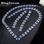 BlingZircons Elegant Women Wedding Costume Jewelery Royal Blue Cubic Zircon Long Bridal Earrings <b>Necklace</b> Sets For Brides JS021
