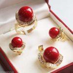 Prett Lovely Women's Wedding New <b>Jewelry</b> 18GP Fashion Luxury Banquet red shell Set >AAA GP Bridal wide watch win